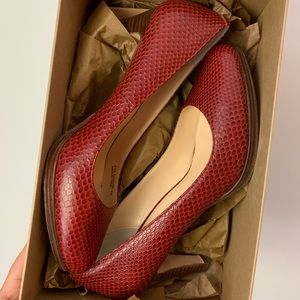 Cole Haan Snake Red Pumps